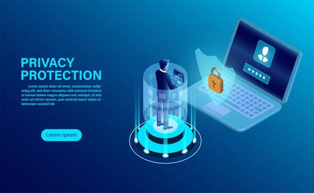 Empresário proteger dados e confidencialidade no computador. proteção de dados e segurança são confidenciais Vetor Premium