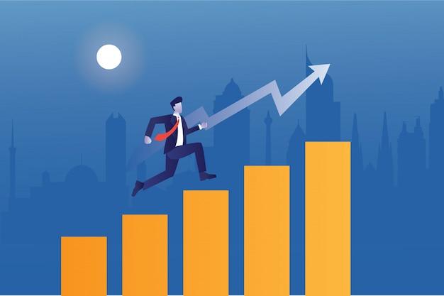 Empresário pula através das setas da barra de estatísticas com a construção da cidade Vetor Premium