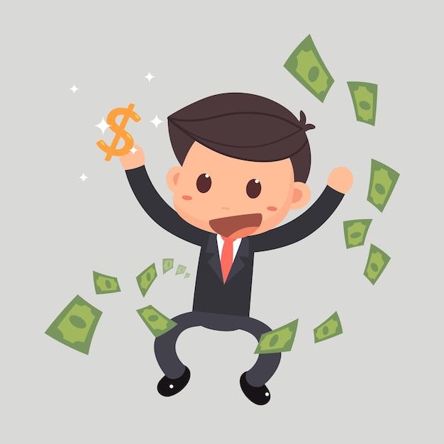 Empresário pulando com dinheiro. Vetor Premium