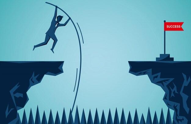 Empresário pulando para obter o alvo da bandeira vermelha Vetor Premium