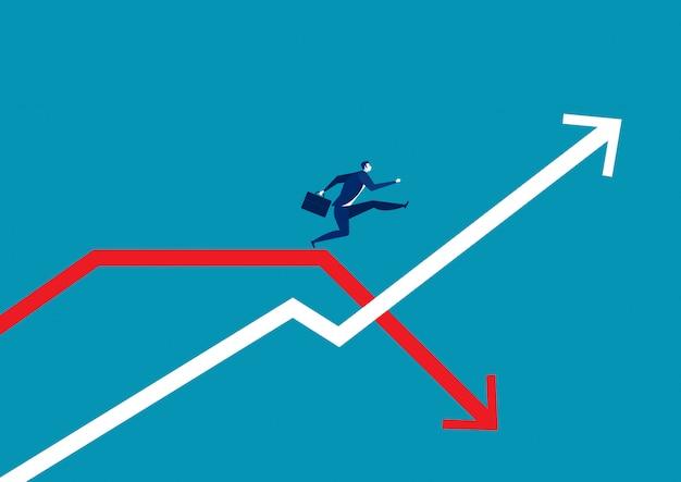Empresário pulando passar o gráfico de seta. Vetor Premium