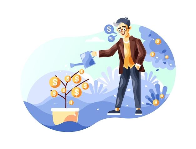 Empresário regar uma ilustração de árvore de dinheiro com um novo estilo de vetor de desenhos animados Vetor Premium