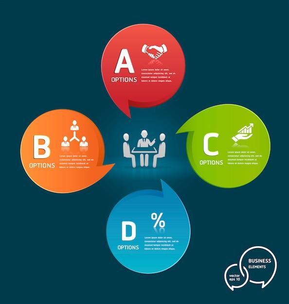 Empresário, reunião com modelo de infográfico de opções de bolhas coloridas discurso Vetor Premium