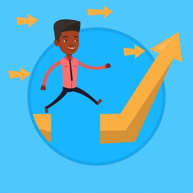 Empresário, saltando sobre a lacuna na seta subindo. Vetor Premium