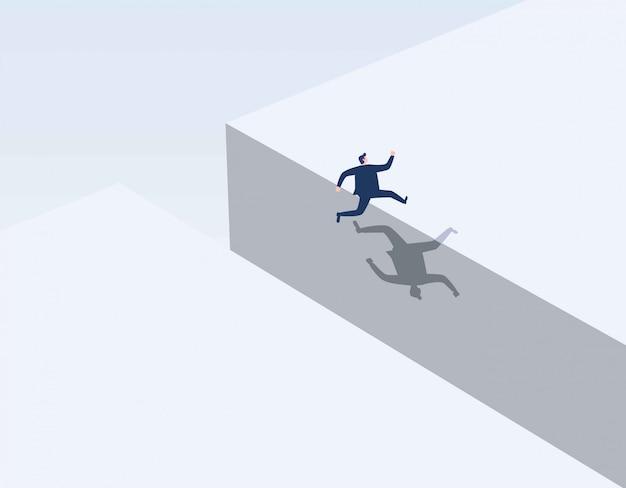 Empresário saltando sobre lacuna. Vetor Premium