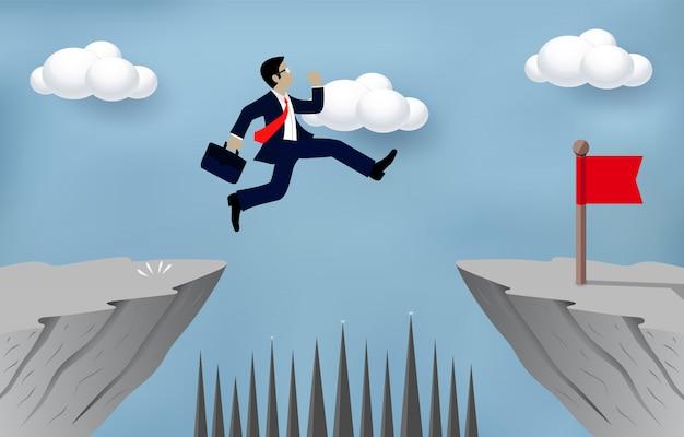 Empresário saltando sobre obstáculos sobre o abismo ir para o conceito de objetivo oposto Vetor Premium