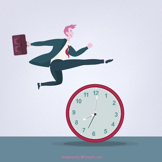 Empresário saltar acima de um relógio Vetor grátis