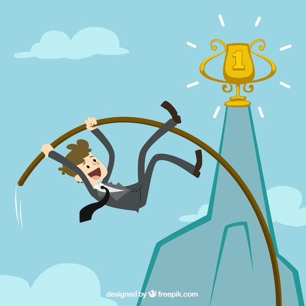 Empresário salto com vara para alcançar seu objetivo Vetor grátis