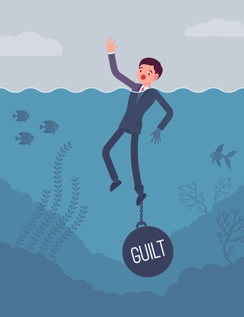 Empresário se afogando acorrentado com um peso culpa Vetor Premium
