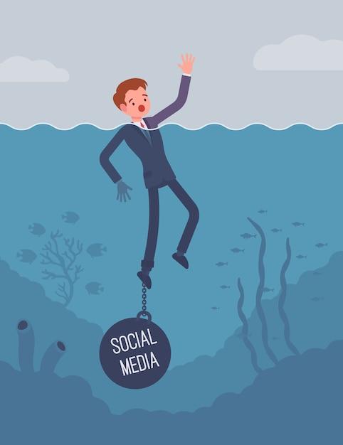 Empresário se afogando acorrentado com um peso social media Vetor Premium