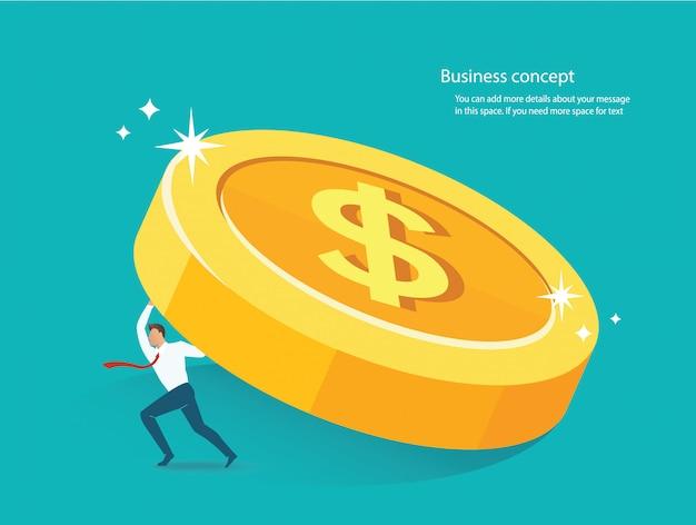 Empresário segurando a grande moeda de ouro Vetor Premium