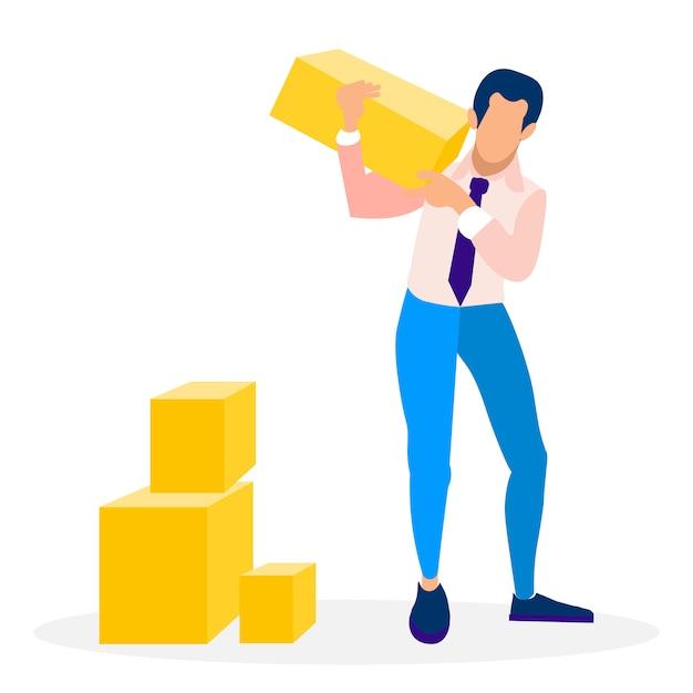 Empresário segurando bloco ilustração vetorial plana Vetor Premium