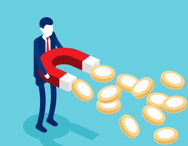 Empresário segurando ímãs para atrair moedas de ouro. Vetor Premium