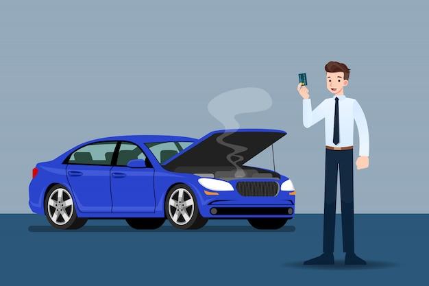 Empresário segurando um cartão de crédito na frente do carro quebrado. Vetor Premium