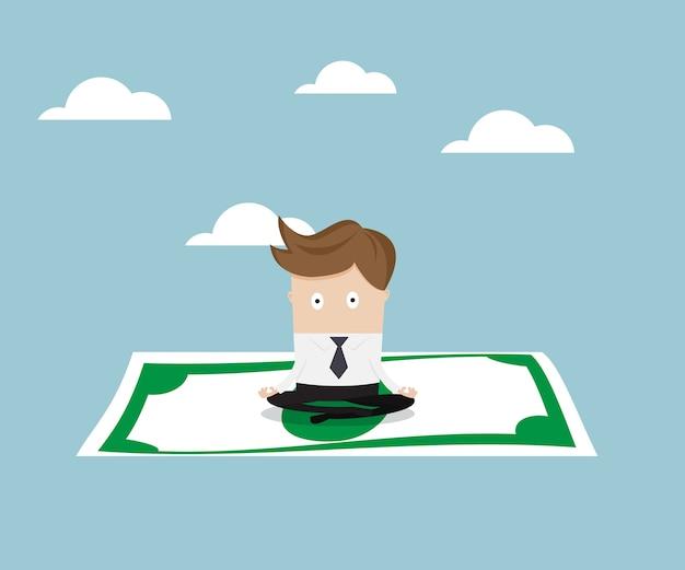 Empresário sentado no dinheiro e voando para o céu Vetor Premium