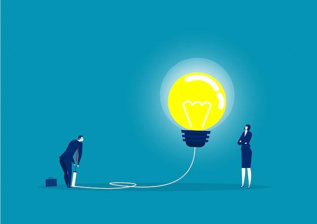 Empresário, soprando a lâmpada pela ilustração da bomba de ar Vetor Premium