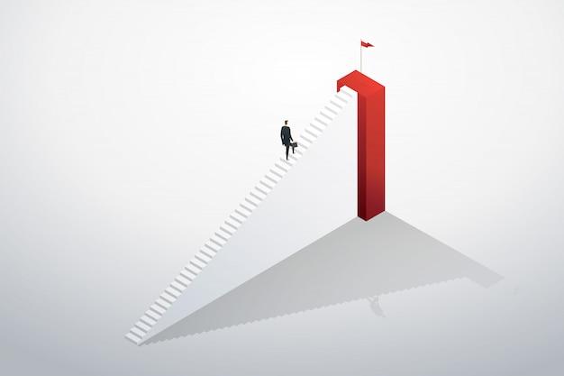 Empresário subindo as escadas correndo para o objetivo e sucesso. Vetor Premium