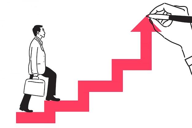 Empresário, subindo uma flecha. Vetor Premium