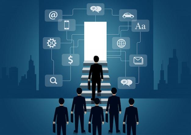 Empresário subir a escada para a porta. subir a escada para o objetivo de sucesso na vida e progresso no trabalho Vetor Premium