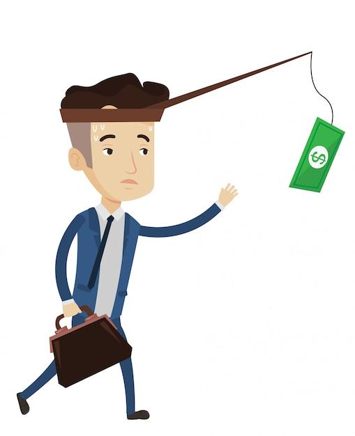 Empresário, tentando pegar dinheiro na vara de pesca. Vetor Premium