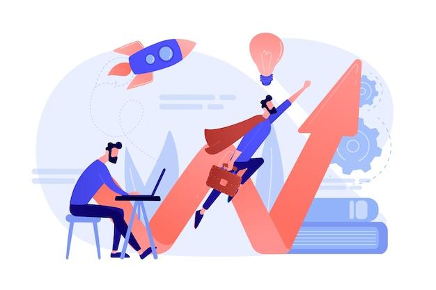 Empresário, trabalhando e voando como super-herói com maleta. inicie o lançamento, inicie o conceito de empreendimento e empreendedorismo em fundo branco. Vetor grátis
