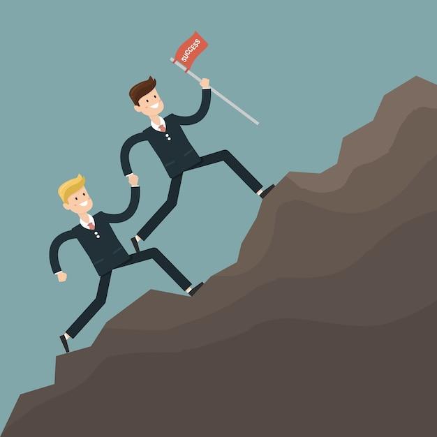 Empresário trabalho em equipe superar obstáculos Vetor Premium