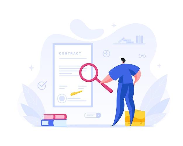 Empresário verifica os termos do conceito de contrato assinado. o personagem de gerenciamento masculino examina o texto e o selo do acordo legal sob uma lupa. verificação de documentação Vetor Premium