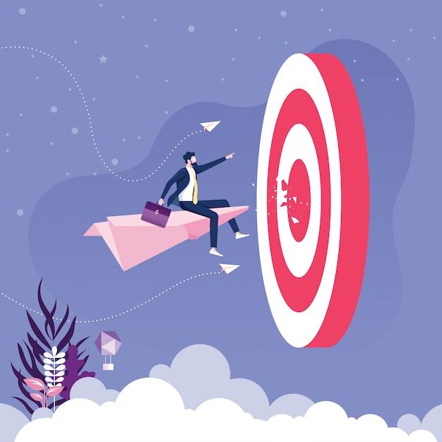 Empresário voando no avião de papel ir ao alvo. vetor de conceito de negócio Vetor Premium