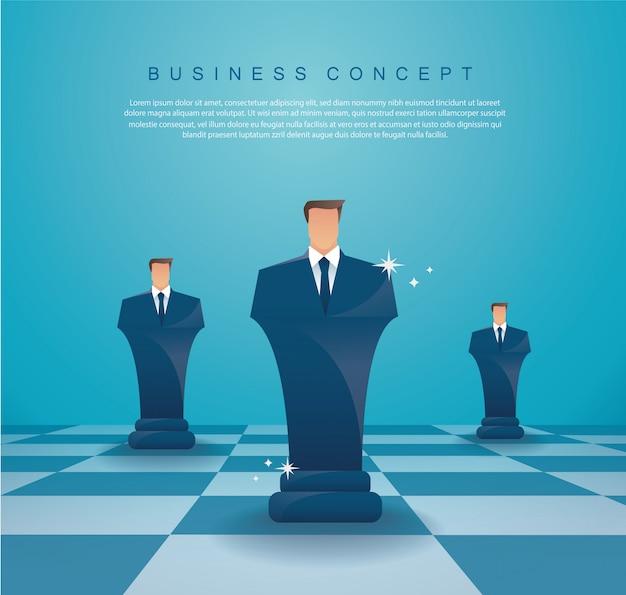 Empresário xadrez figura conceito de estratégia de negócios Vetor Premium