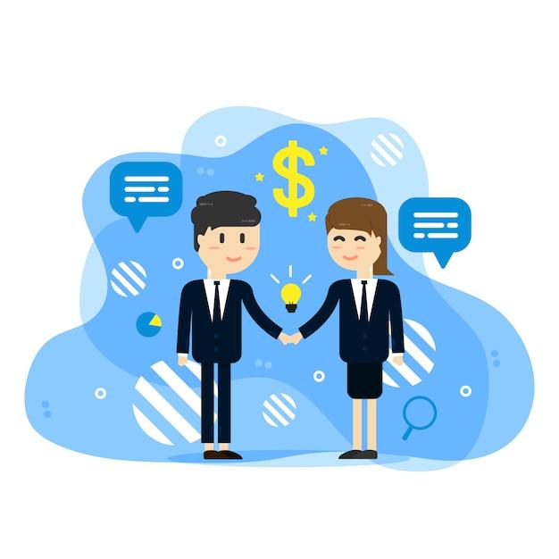 Empresários, apertando as mãos de fundo Vetor Premium