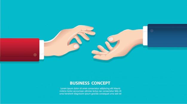 Empresários apertando as mãos em um fundo Vetor Premium