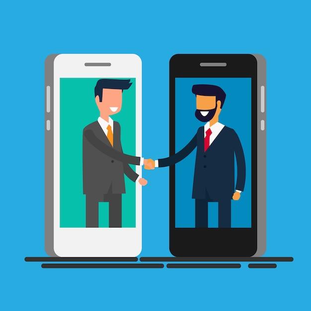 Empresários, apertando as mãos pela tela do telefone inteligente. Vetor Premium