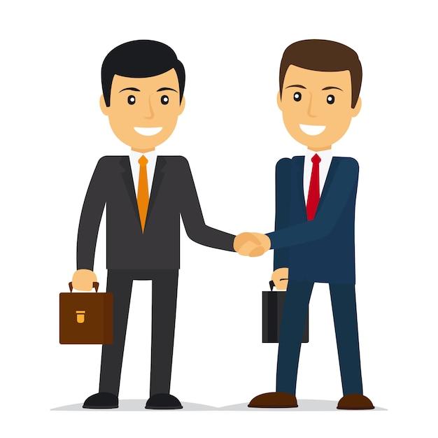 Empresários apertando as mãos Vetor Premium