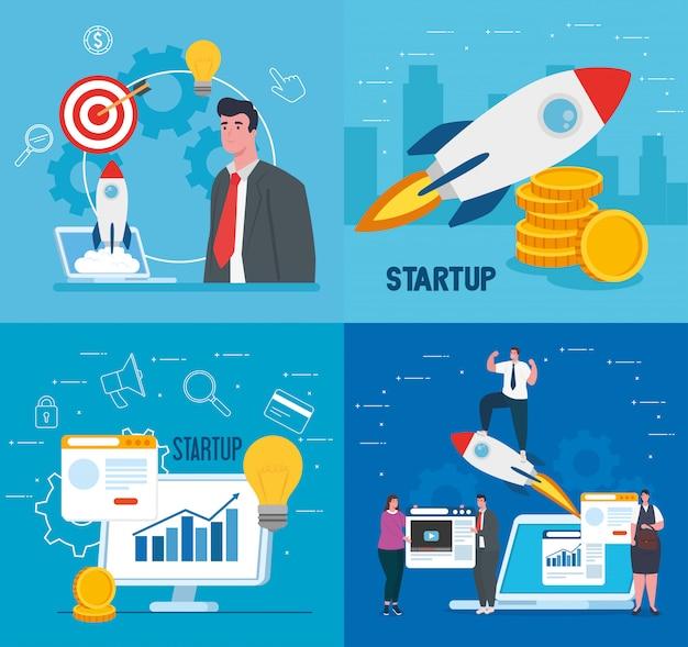 Empresários com start-up foguetes computador e laptopvector design Vetor Premium