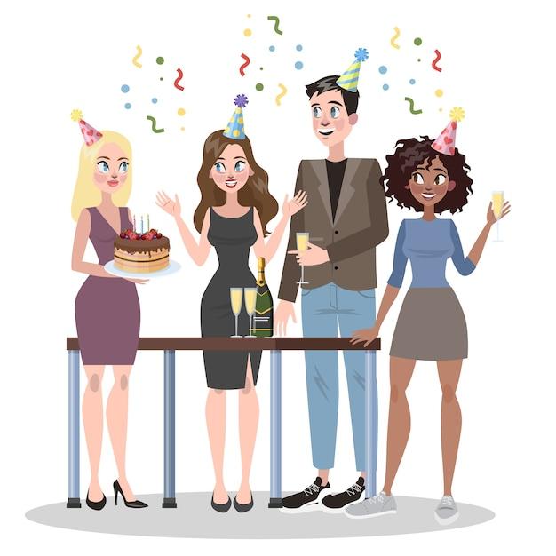 Empresários comemoram aniversário juntos. mulher segurando Vetor Premium