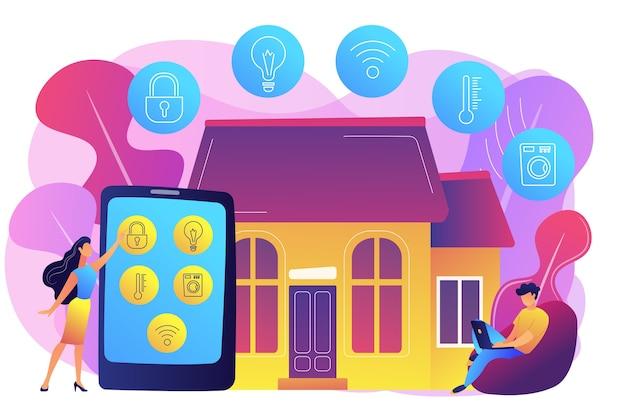 Empresários controlando dispositivos de casa inteligente com tablet e laptop. dispositivos de casa inteligente, sistema de automação residencial, conceito de mercado de domótica. ilustração isolada violeta vibrante brilhante Vetor grátis