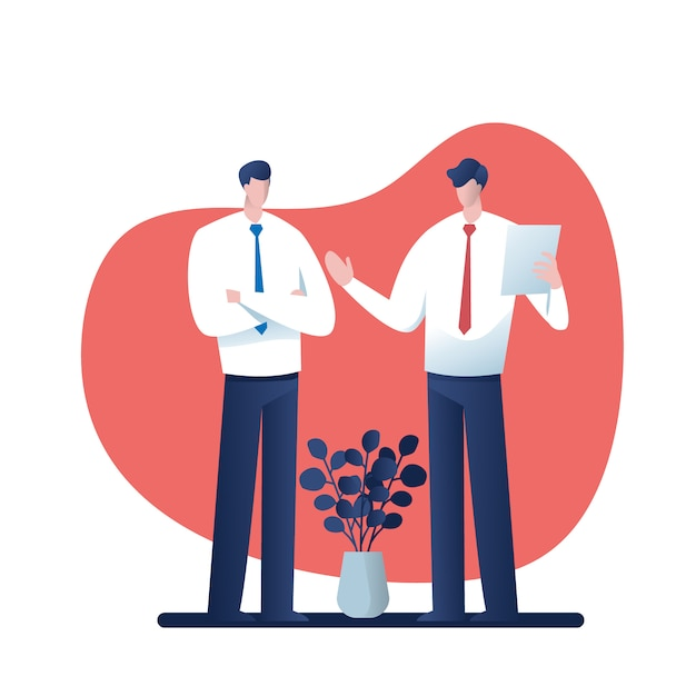Empresários de consultoria. desenhos animados para o negócio, personagem de ilustração vetorial Vetor Premium