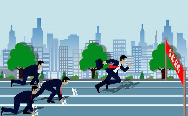 Empresários de correr para a linha de chegada para o sucesso no conceito de negócio Vetor Premium
