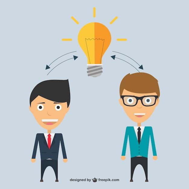Empresários de partilha de ideias Vetor grátis