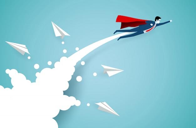 Empresários de super-herói bem sucedidos estão voando para o céu separados do avião de papel branco Vetor Premium