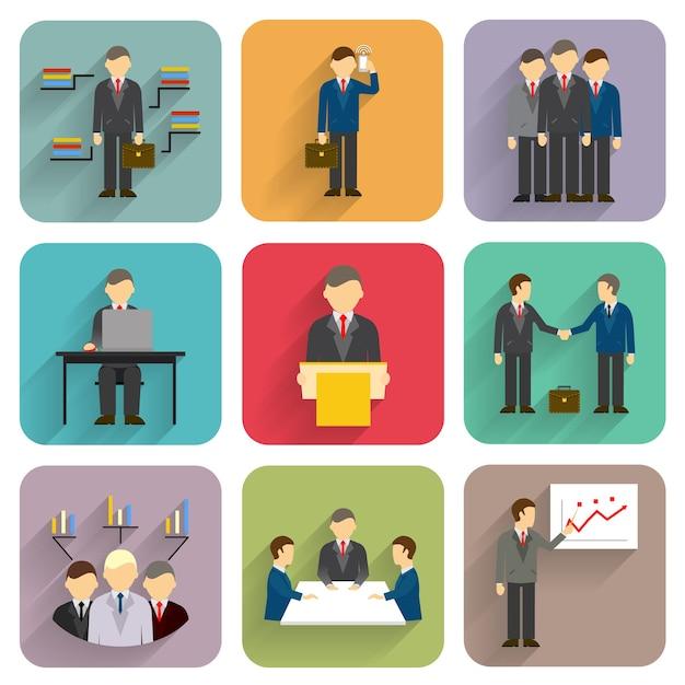 Empresários de vetor em estilo simples. ícones de reunião, conferência e apresentação Vetor grátis