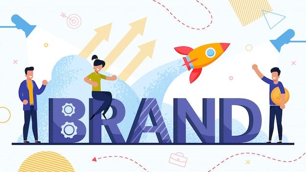 Empresários e lançamento de marca Vetor Premium