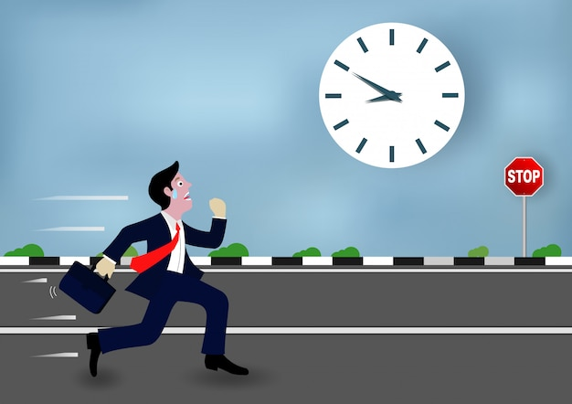 Empresários estão correndo ir ao trabalho corrida contra o tempo Vetor Premium