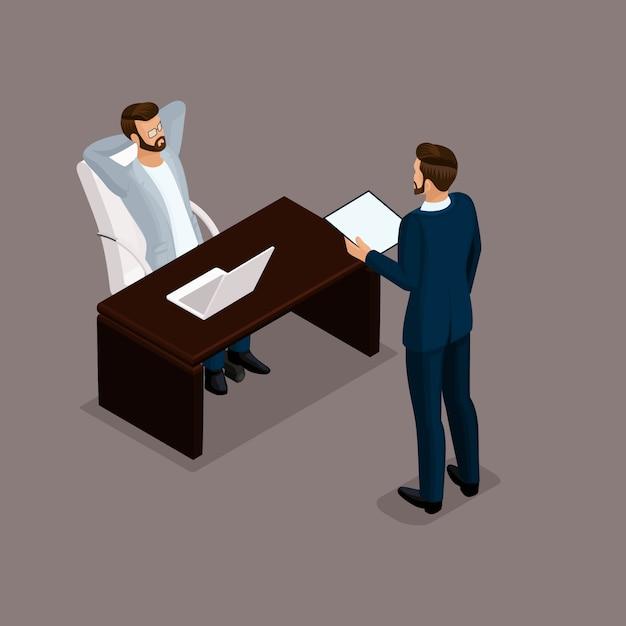 Empresários isométricos, negociações, reunião de negócios Vetor Premium