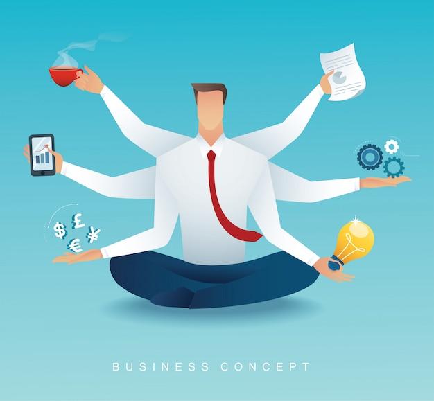 Empresários multitarefa trabalho duro por seis braços Vetor Premium