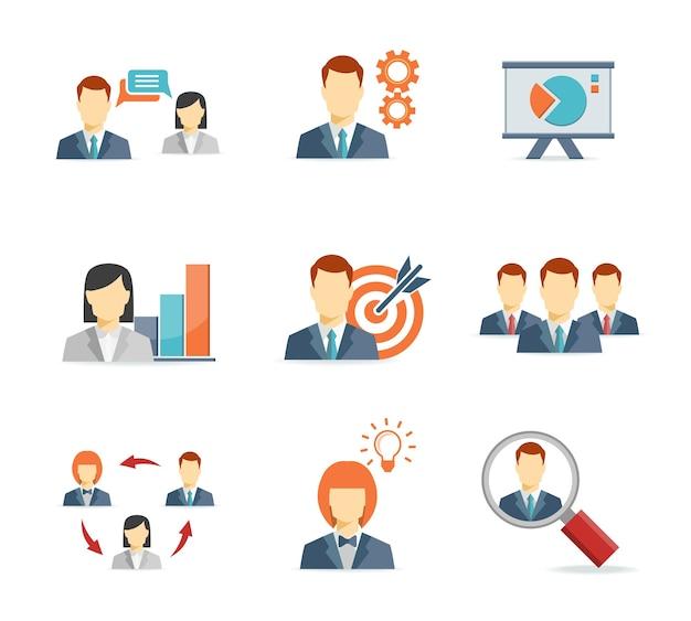 Empresários para ícones planos de aplicativos da web e de dispositivos móveis Vetor grátis