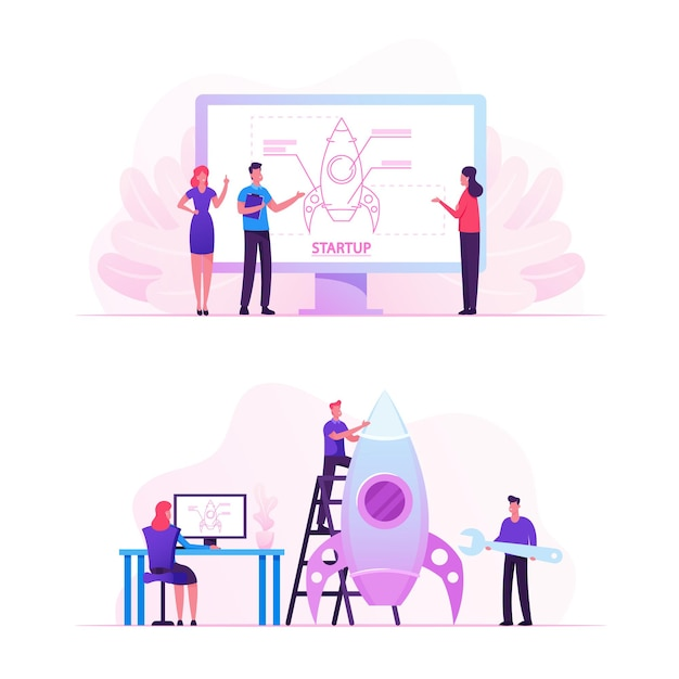 Empresários projetando e lançando startups de projetos empresariais. ilustração plana dos desenhos animados Vetor Premium