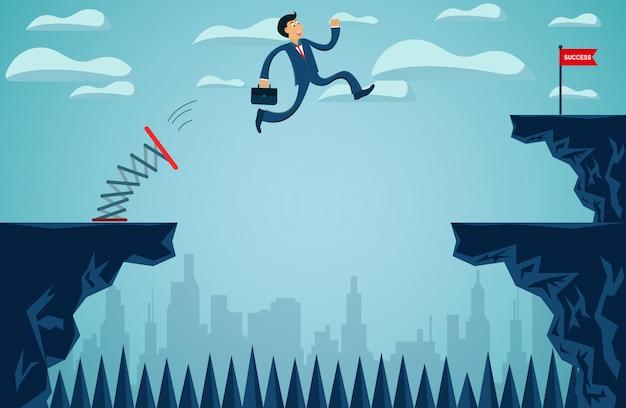 Empresários que estão pulando do trampolim do outro lado do penhasco, vá para o objetivo de sucesso nos negócios Vetor Premium