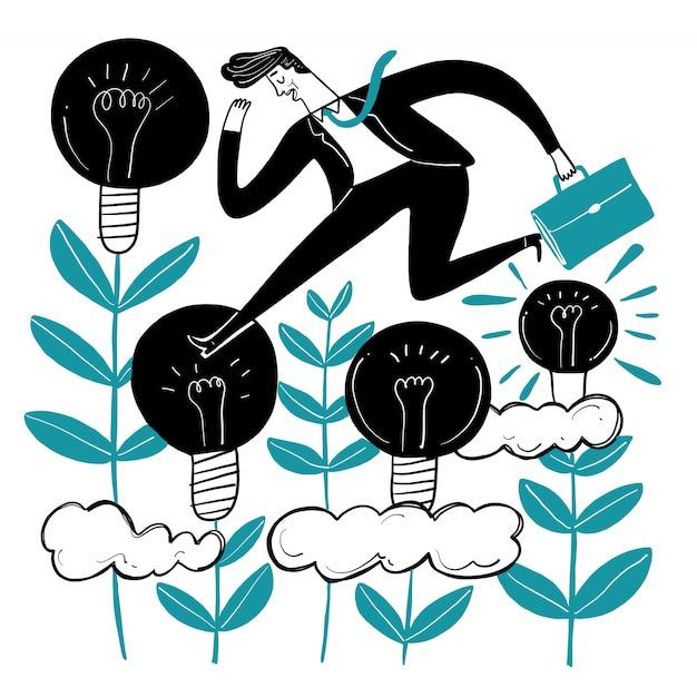 Empresários que são criativos. Vetor Premium