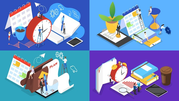 Empresários trabalhando em equipe e planejando a obra. conceito de gerenciamento de tempo. fazendo uma programação semanal. ilustração vetorial isométrica Vetor Premium